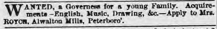 Advert for Governess - January 1864