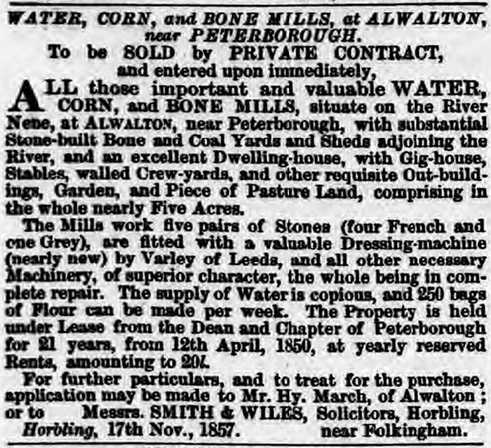 Sale particulars - November 1857