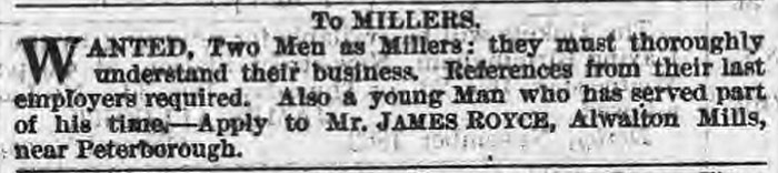 Advert for millers - November 1863